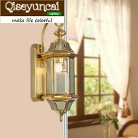 Qiseyuncai 2018 new European style copper wall lamp villa aisle home courtyard lighting glass soldering lamps
