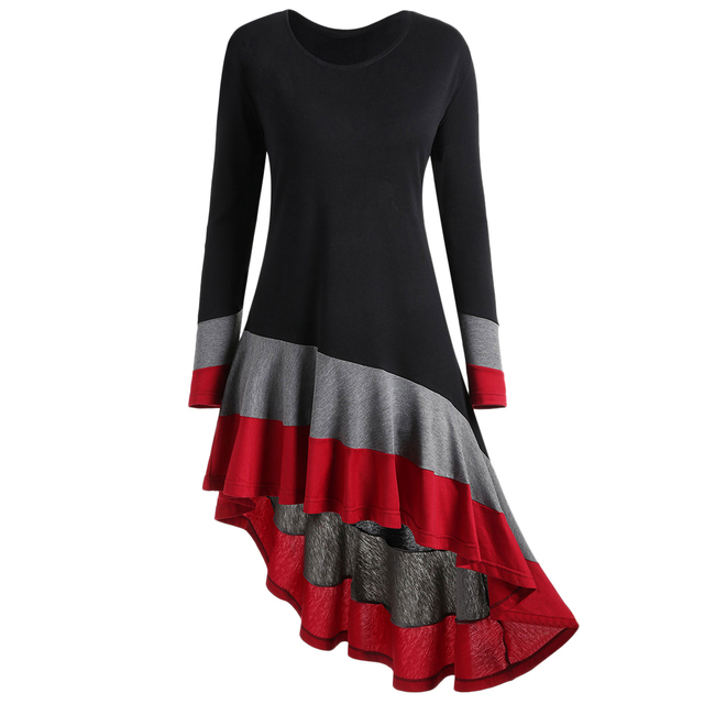 4ab46a564e35e Wipalo Autumn Women Plus Size 5XL Color Block Asymmetric Top Long Sleeve  Striped Round Neck Casual Ladies T Shirts Big Size-in T-Shirts from Women s  ...