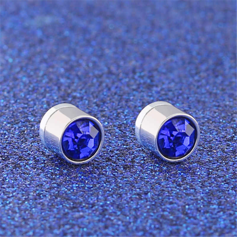 Hot Multicolor Stainless Steel Magnet Ear clip Non piercing Women Men Crystal Stud Earrings Fashion Jewelry Christmas Gifts