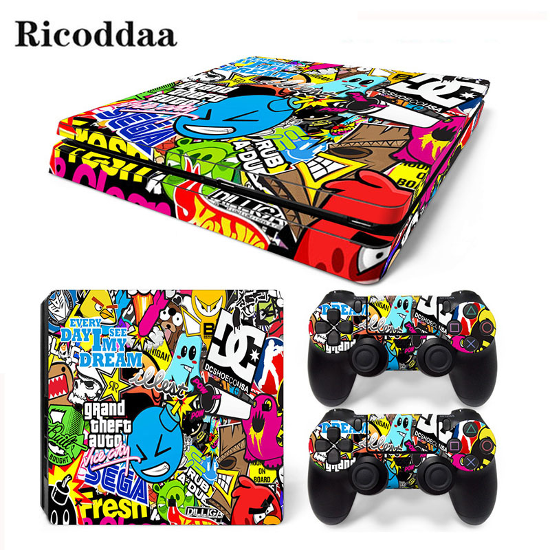 Bombing Design Decal Cover pentru PS4 Slim Skin Sticker pentru Sony Play Station 4 Consola Slim și 2 Controlere de protecție autocolante