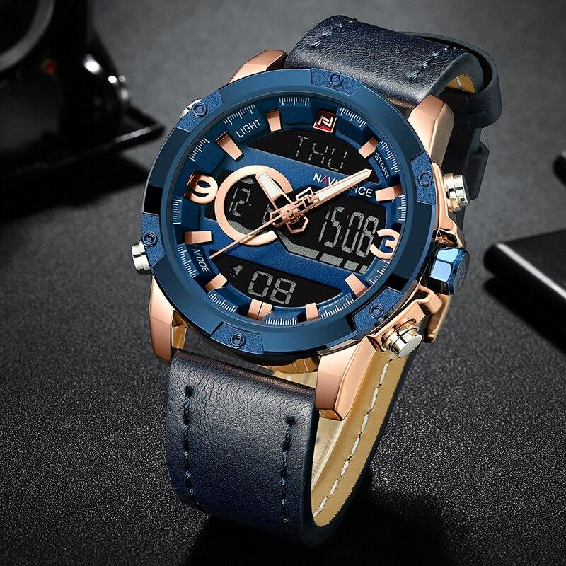 NAVIFORCE Mens Sport Watches Men Top Luxury Brand Quartz Digital Clock Man Waterproof Leather Army Wrist Watch Relogio Masculino