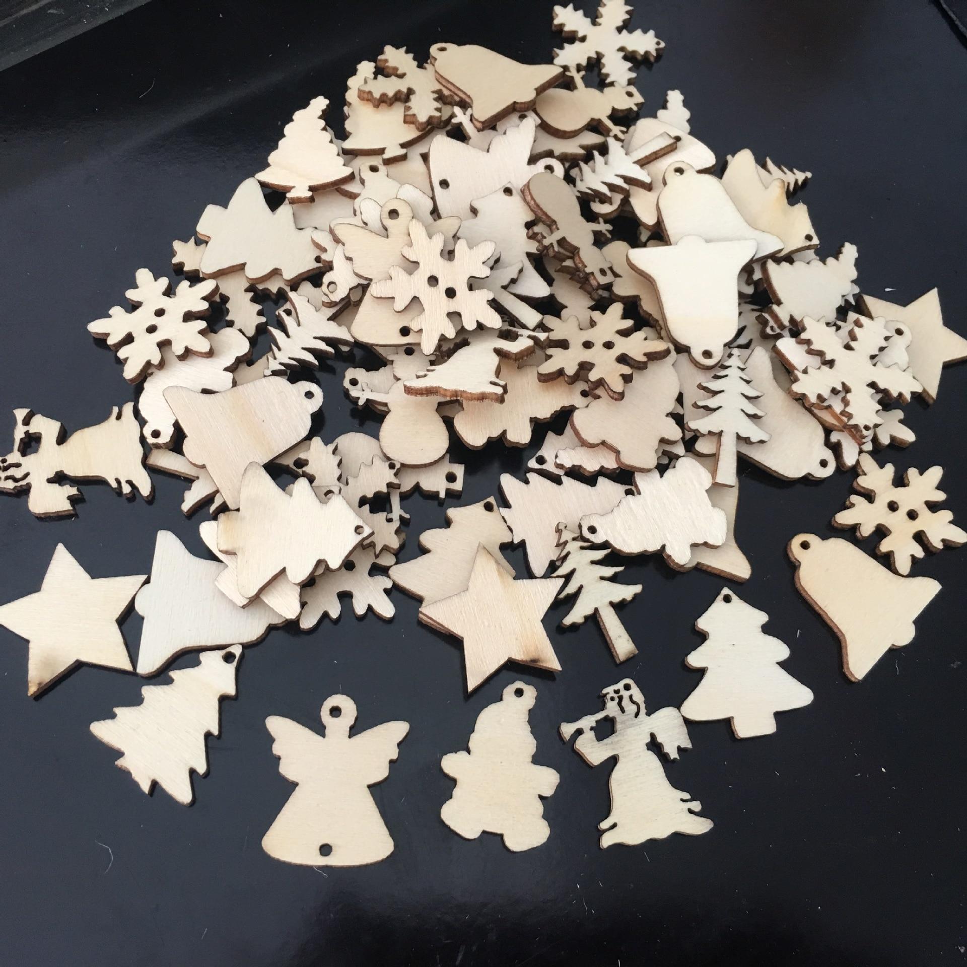 25 MINI CHRISTMAS TREE PLAIN UNPAINTED BLANK WOODEN VINTAGE EMBELLISHMENTS TAG