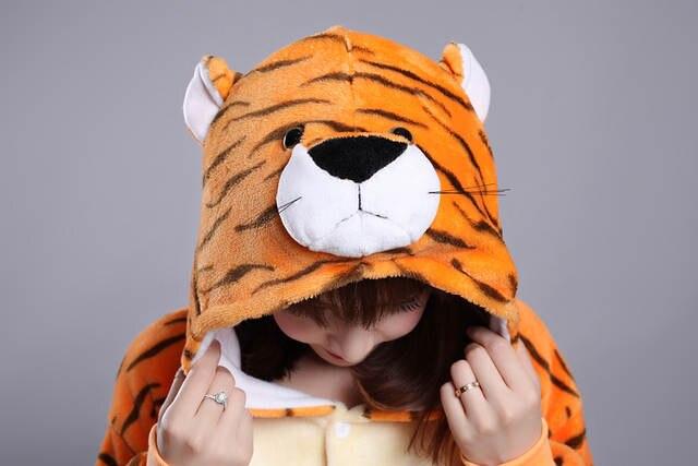 Kigurumi Winter Zodiac Tiger Onesies Flannel Pajama Adult Alaska Tiger  Pyjamas Animal Anime Cartoon Costumes Sleepwear Cosplay