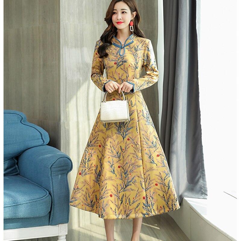Long Robes fuchsia De Partie Imprimer Peau Hiver Daim Collier Stand rose Fleur Automne Yp2022 Vert 2018 Fond Ladis Femmes jaune Mode Robe SqpMVUzG