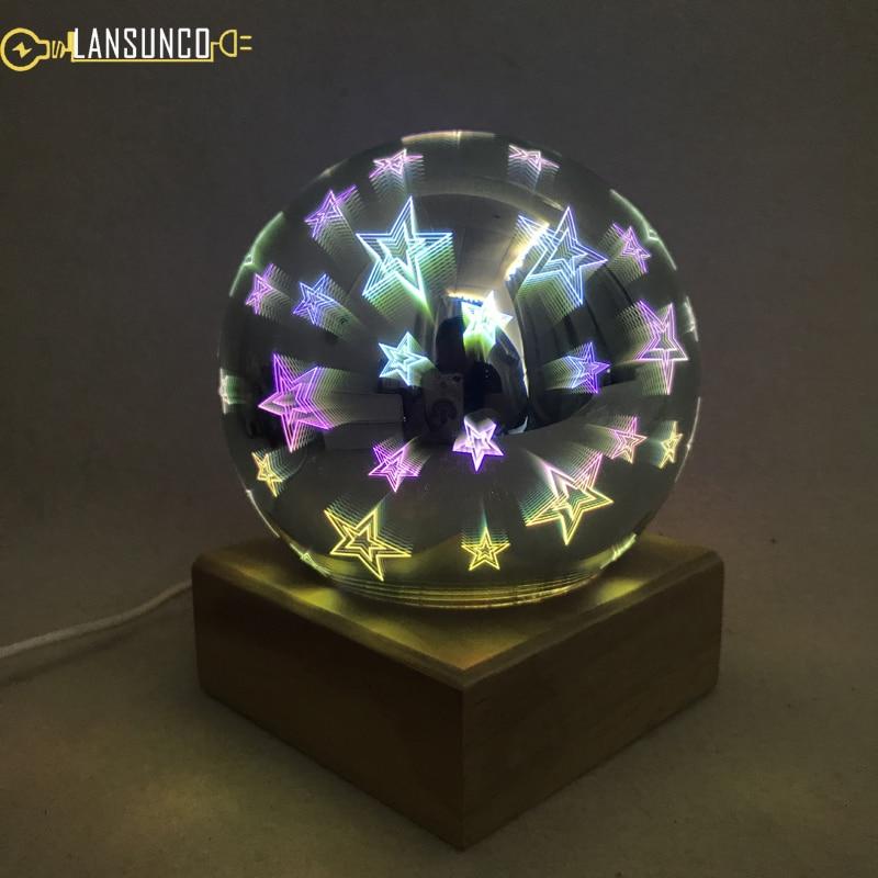 3d Farben Tisch Lampen Kristall Glas Schreibtisch Lampe Beschichtung Lampenschirm Usb Plug-in Led Tafellamp Für Weihnachten Schlafzimmer Lampara De Mesa Direktverkaufspreis Led-lampen