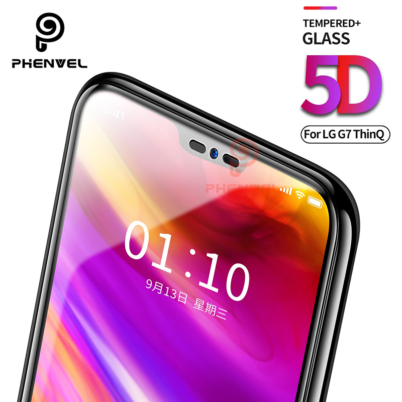 For LG G7 Screen Protector 5D Phenvel 9H Oleophobic Coat tempered Glass For LG G7 Thinq Q9 One G7 Fit Full Cover Protective film