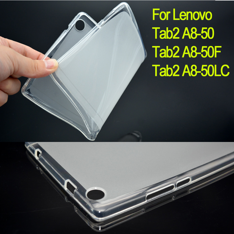 Tab2 A8-50F Soft TPU Cover semi transparent Case for lenovo tab2 A8 Silicone Rubber Back Case for Lenovo tab 2 A8-50 / A8-50LC lenovo tab 2 a8 50lc 16gb