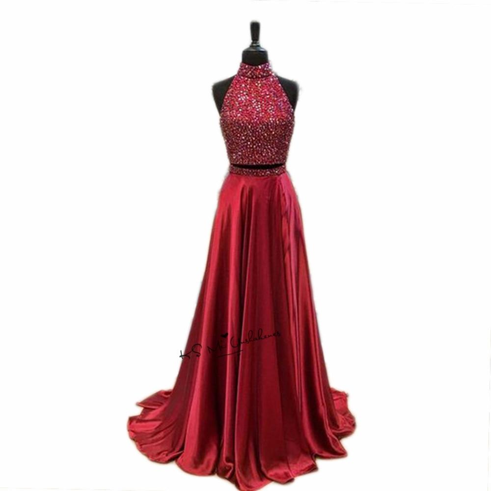 10875 22 De Descuentonavidad Dos Piezas Borgoña Vestidos De Graduación 2018 Vestido De Baile Graduación Cuentas De Gala Largos Vestidos De Noche