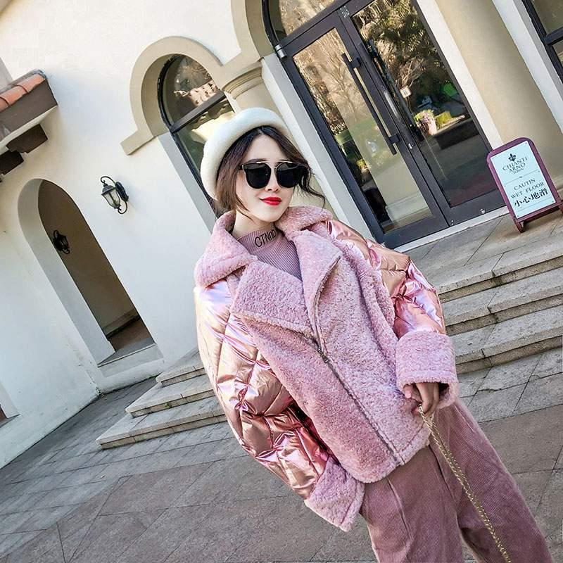 De New Chaud Veste Parkas Survêtement white Occasionnel Mode Coton D'hiver Pink Lâche Ly633 Femmes Court Patchwork 2019 Coréenne Manteau wIYZ5Yq