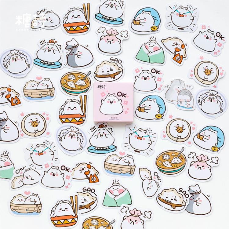 45PCS/box Eat Dumplings Diary Paper Lable Stickers Crafts And Scrapbooking Decorative Lifelog Sticker DIY Stationery