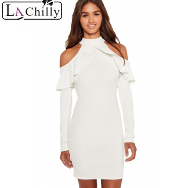 65adc995504 La Chilly sexy Bodycon dresses party Hollow Out White Frill Cold Shoulder  Long Sleeve Dress autumn winter pencil dresses LC22833