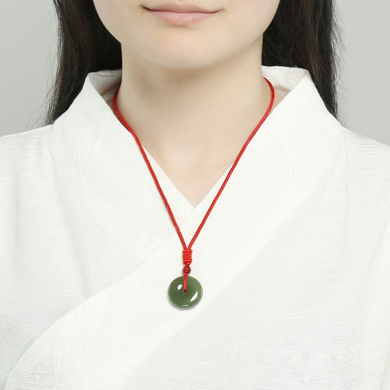 Drop Shipping XinJiang HeTian Jade Pendant Necklace Safety Button PingAnKou Amulet Pair Lovers Necklace With Chain For Women Men in Pendants from Jewelry Accessories