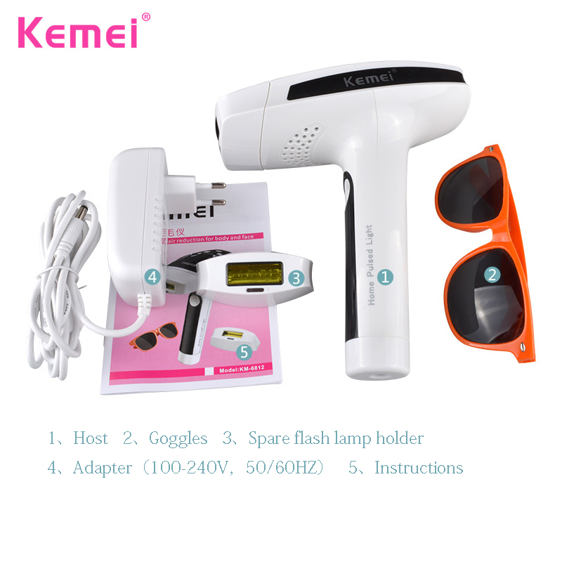 Kemei KM-6812 Razor Electric Lady Shaver Lasting Painless Laser Epilator Photon Hair Removal Instrument Machine Shaving laser epilator shaving replacement machine head hair removal depilator for g920 y05 c05