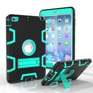 Image 4 - Moda pancerz Case dla iPad mini 1 2 3 Kid bezpieczne Heavy Duty silikonowa twarda okładka dla iPad mini 1 2 3 7.9 cal Tablet Case + Film + długopis