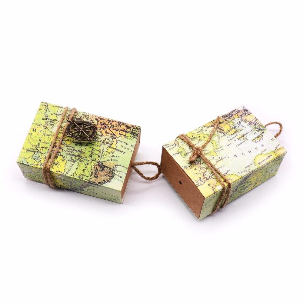50pcs Novelty World Map vintage Kraft paper candy Box+Compass ...