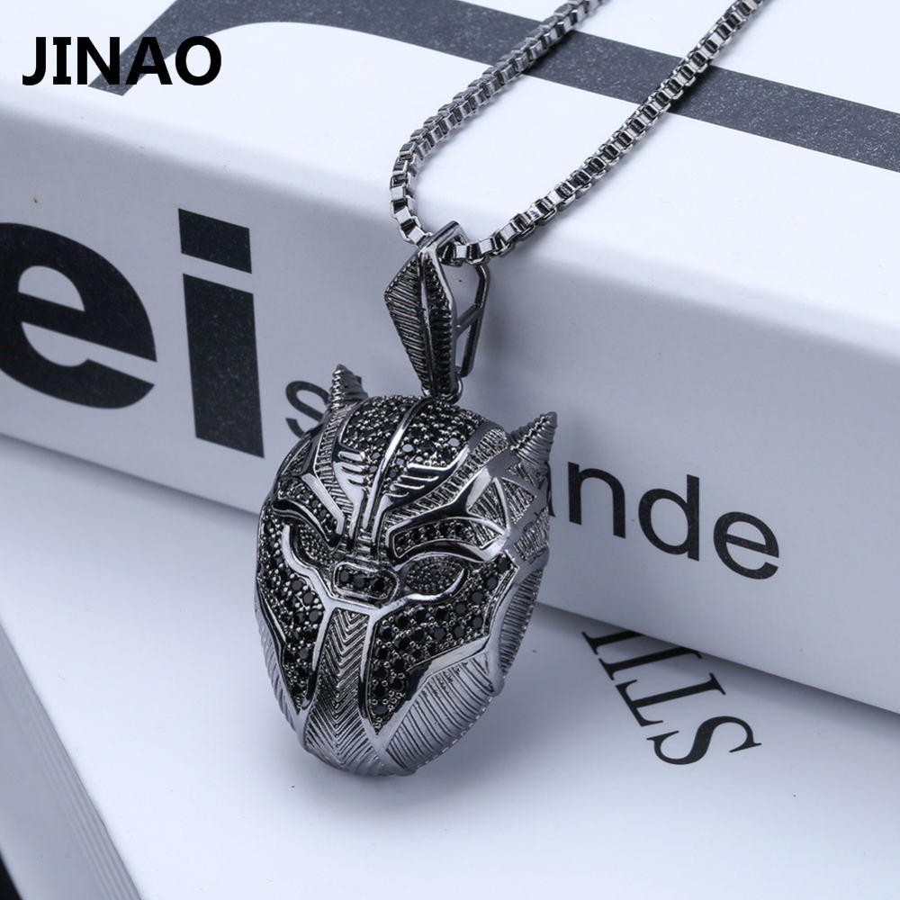 New Classic Iced Out Mysterious Dark Element Panther Mask Pendant Necklace
