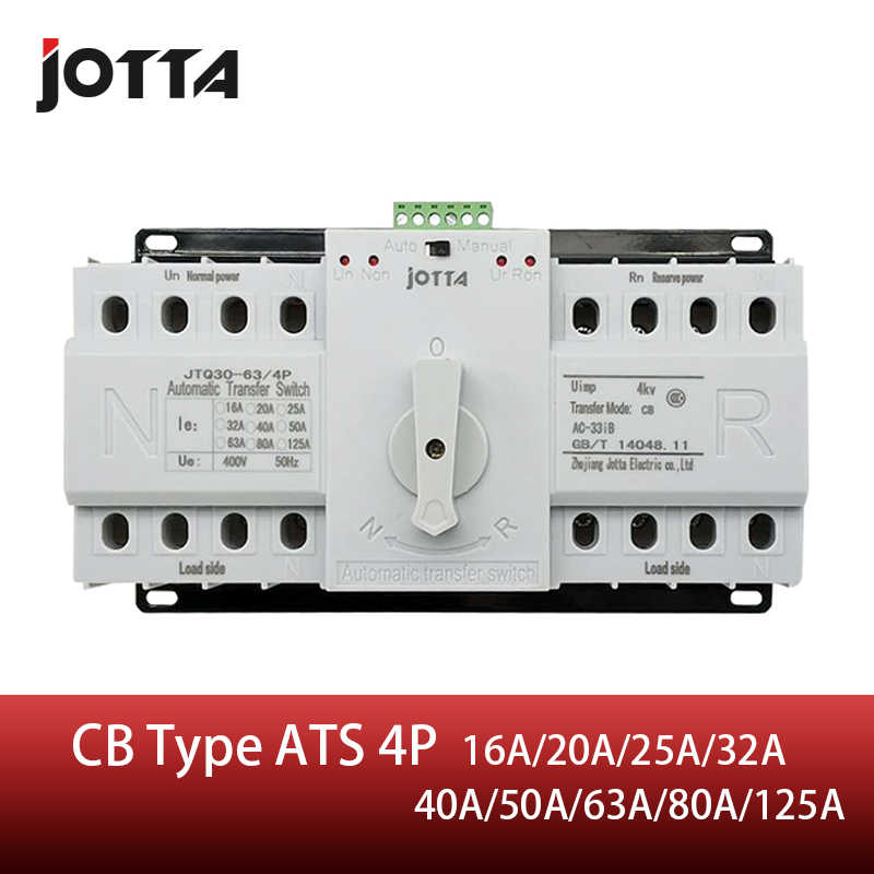 Jotta ATS 4 P Dual-Power-Automatic Transfer Switch 4 P Circuit Breaker MCB AC 230 V 16A 20A 25A 32A 40A 50A 63A 80A 125A