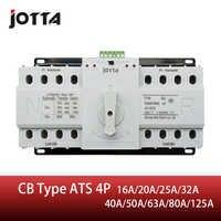 Interruptor de transferencia automática de doble potencia Jotta ATS 4P interruptor de circuito 4P MCB AC 230V 16A 20A 25A 32A 40A 50A 63A 80A 125A