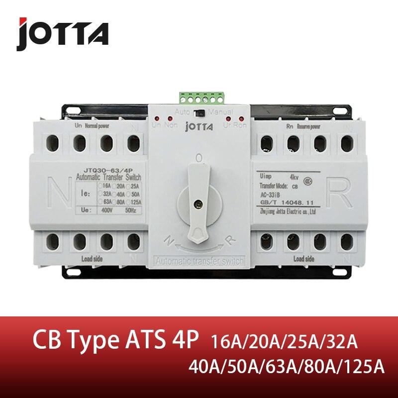 Jotta ats 4 p interruptor de transferência automática de potência dupla 4 p interruptor de circuito mcb ac 230 v 16a 20a 25a 32a 40a 50a 63a 80a 125a