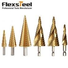 цена на 6pcs/set Titanium Coated HSS Straight+Spiral Core Drill Bit Set 4mm to 12mm/20mm/32mm Drill Step Hole Cutter Set Cut Tool Set