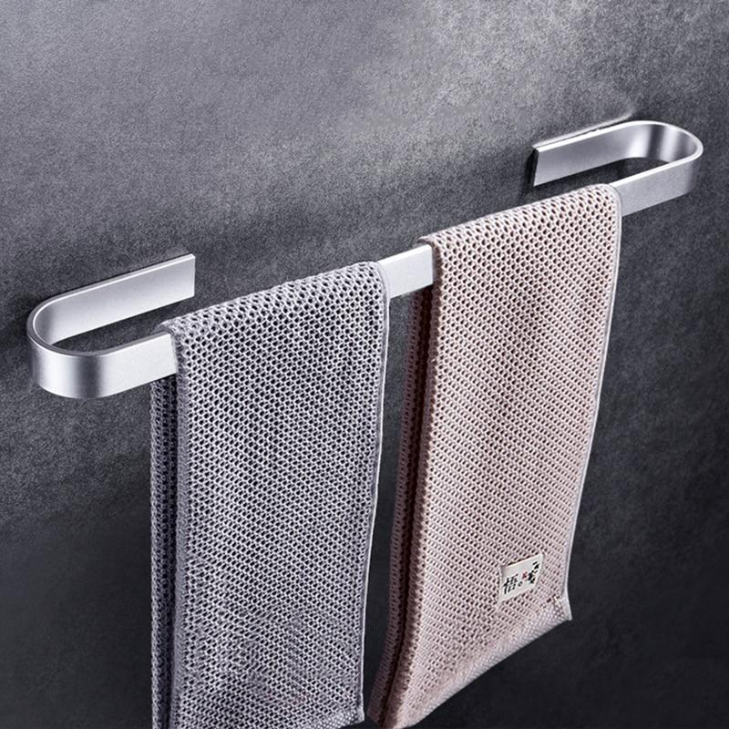 Espaço Alumínio Fixado Na Parede de Toalha Titular Rack Organizador Cabide Barras de Toalha de Banho Acessórios de Cozinha Rack De Armazenamento Prateleira