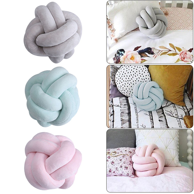 Warm Nordic Style Pillow Cushion Velvet Ball Knot Pillow Solid Color Baby Calm Sleep Dolls Stuffed Kid Adult Bedroom Decoration