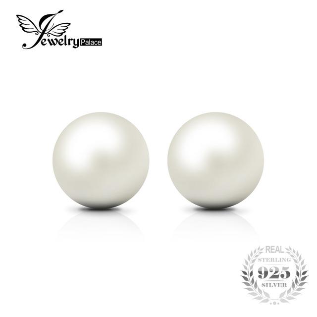 6.5mm Freshwater Cultured Pearl Button Ball Stud Earrings 925 Sterling Silver 2016 Fine Jewelry Earrings For Women