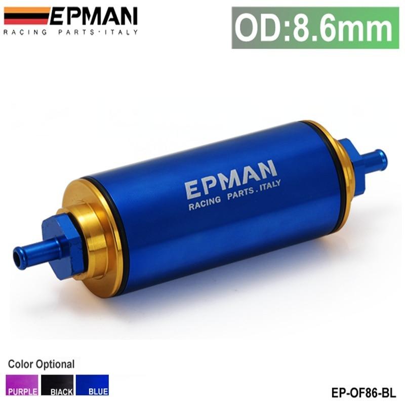 Epman Racing Blue OD:8.6MM Hi-Flow Motorsport/Rally/Racing Alloy Fuel Filter With Steel filter EP-OF86-BL