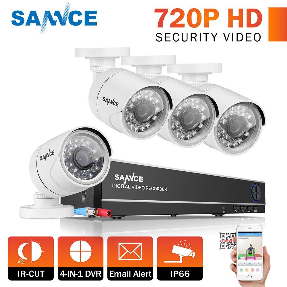 SANNCE 8CH видеонаблюдения Системы HD 1080N AHD DVR 4 шт. 720 P ИК наружного видеонаблюдения Камера Системы 8-канальный комплект видеонаблюдения