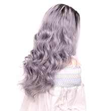 Ombre Long Synthetic Body Wave Wig Natural Lace Front Wig For Women 24Inch Two Tone Black Brown Grey Cosplay Wig Heat Resistant стоимость