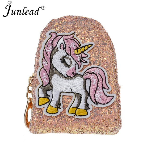 Junlead 2018 Sparkly Sequins Female Pink Horse Coin Purse Pocket Change  Wallet For Girl Key Chains Cute Fashion Card Coin Purse ecc24d8cdee0