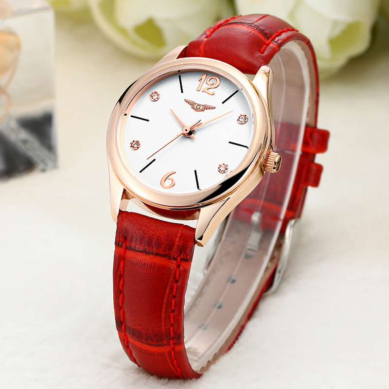 Fashion GUANQIN Luxury Brand Women Watch Crystal Rhinestone Leather Quartz Watches Ladies Casual Wrist Watch Relogio Feminino nakzen quartz women watches top brand fashion ladies bracelet watch rhinestone crystal wrist watch female hers relogio feminino