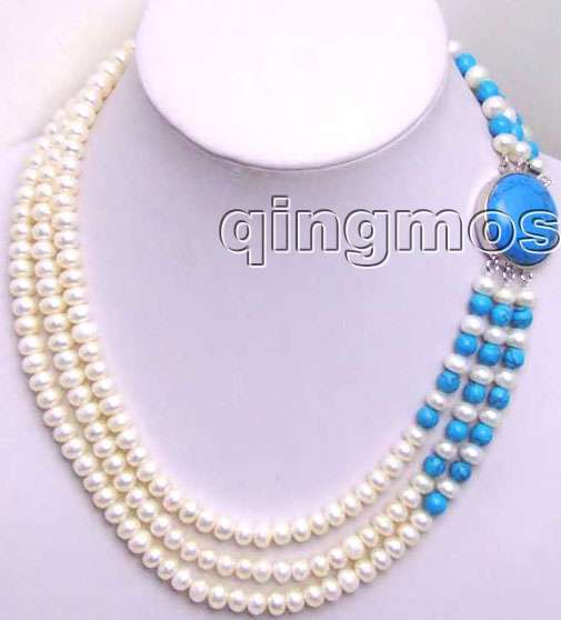 SALE 6-7mm White natural freshwater flat Pearl 3 Strands neckalce with Big Blue Clasp-5200 Wholesale/retail Free shipping цена и фото