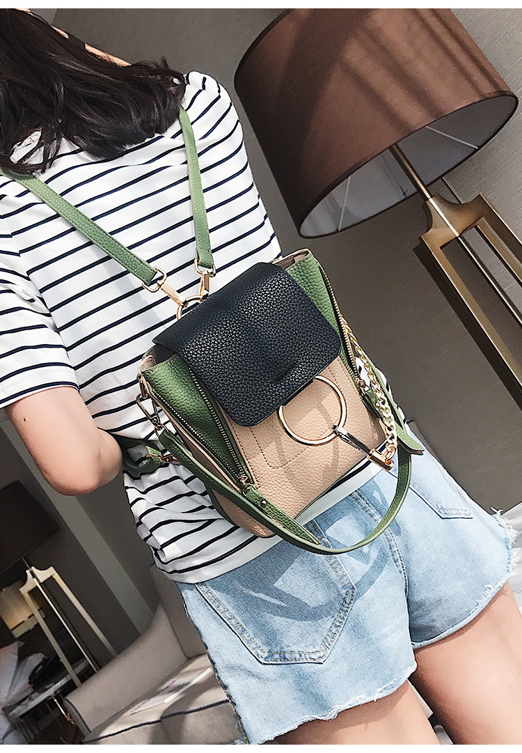 DORANMI Leather Women's Backpack Back Shoulder Bags 2019 Contrast Color Chain Rucksack Female Small Schoolbag Mochila Mujer B077