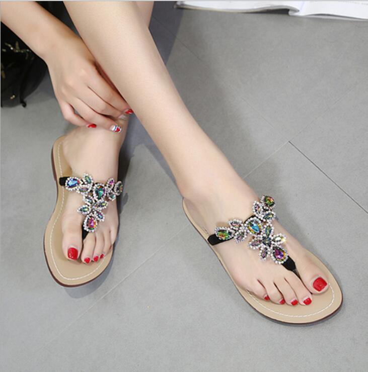 Shows Flache Picture Casual Marke As Frauen as Slipper Strand Kristall flops Bling Sandalen Slip Shows Diamant Auf Rutschen Hausschuhe Flip Weibliche Schuhe Bunte Rp4XSwq