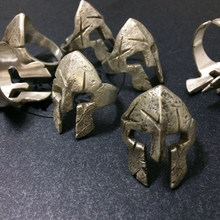 New Cool Spartan Hero Helmet Mask Rings for Men Antique Thai Silver Rock Punk Sparta Rings Party Gifts Biker Helmet Jewelry(China)