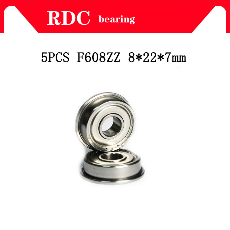 High Quality 5pcs ABEC-5 F608ZZ F608 ZZ F608 8*22*7 Mm 8x22x7 Mm Metal Double Shielded Flanged Bearing Ball Bearing