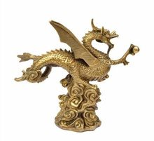 A mesa de luz cobre flying dragon statue pterossauro fly dragão chinês estatueta estatueta Escultura artesanato presente legal.(China)