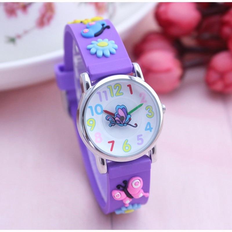Butterfly Cartoon 3D Children Watches Students Kids Wristwatch Fashion Children's Watch For Boy Child Clock Ladies Watch Relogio