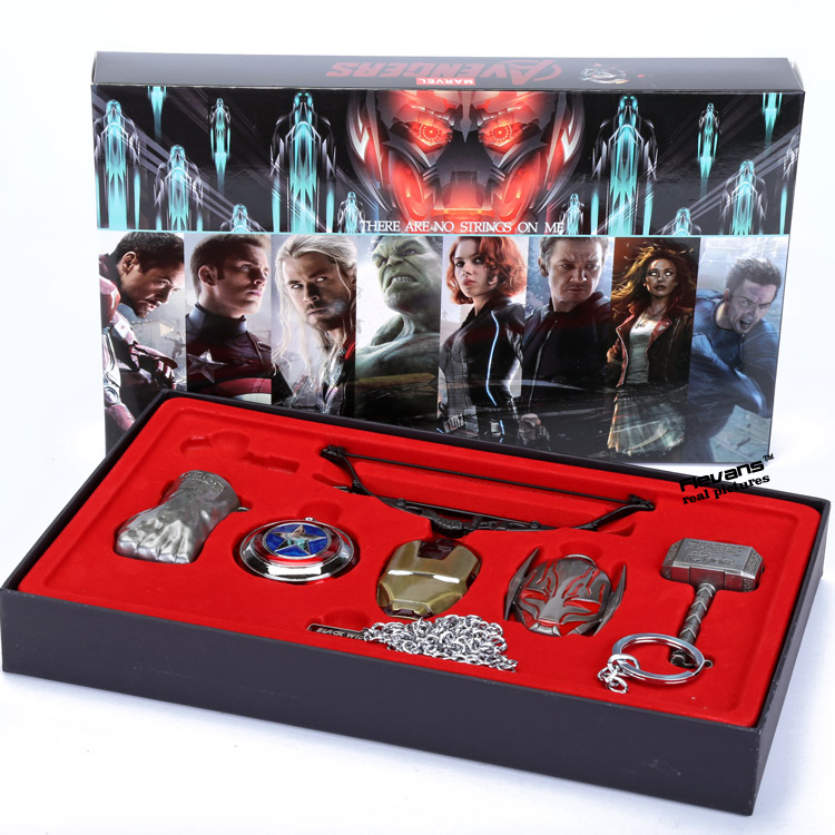 6pcs/set Avengers Age of Ultron Cosplay Weapons Thor Hammer Necklace Metal Figure Model Collectible original full set action figure mms357 avengers age of ultron 1 6th scarlet witch wanda django maximoff figure doll model