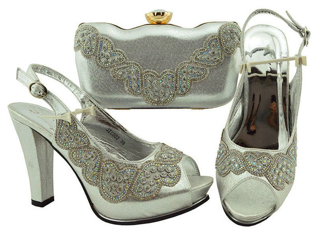Green Wedding Shoe and Bag Set Women Shoes and Bag Set In Italy Design Italian Shoes with Matching Bag Set Decorated with Stone