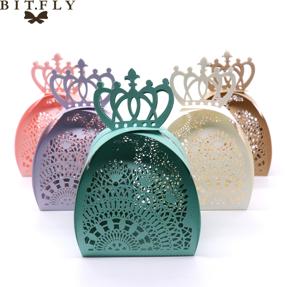 50pcs Candy box gifts box vintage design Laser cut lace lace for DIY Wedding party baby Shower birthday decoration favor supplie