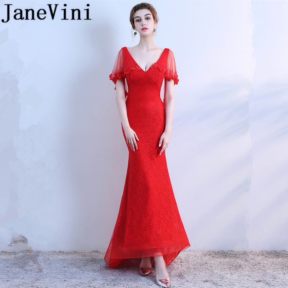 JaneVini Red Lace Mermaid Long   Bridesmaid     Dresses   Sexy Deep V-Neck Beaded Hand Made Flowers Zipper Back Sweep Train Robe Soiree