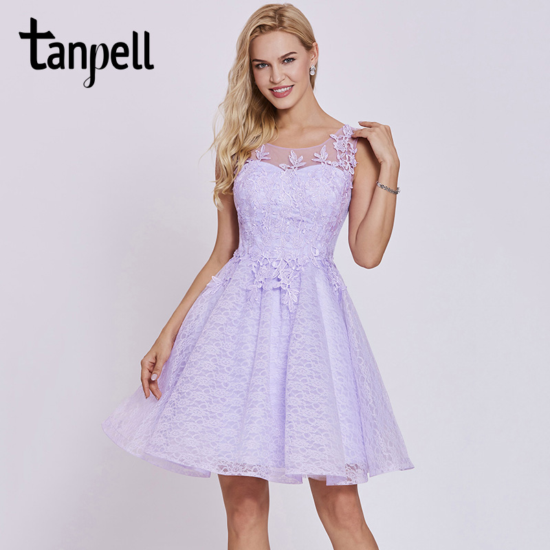 Tanpell short cocktail dress lilac scoop sleeveless knee length lace ...