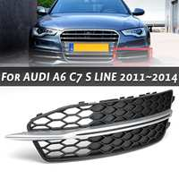 Front Bumper Car Fog Light Grille Cover Left / Right Trim for AUDI A6 C7 S LINE 2011 2014 Replacement Grille Car Styling