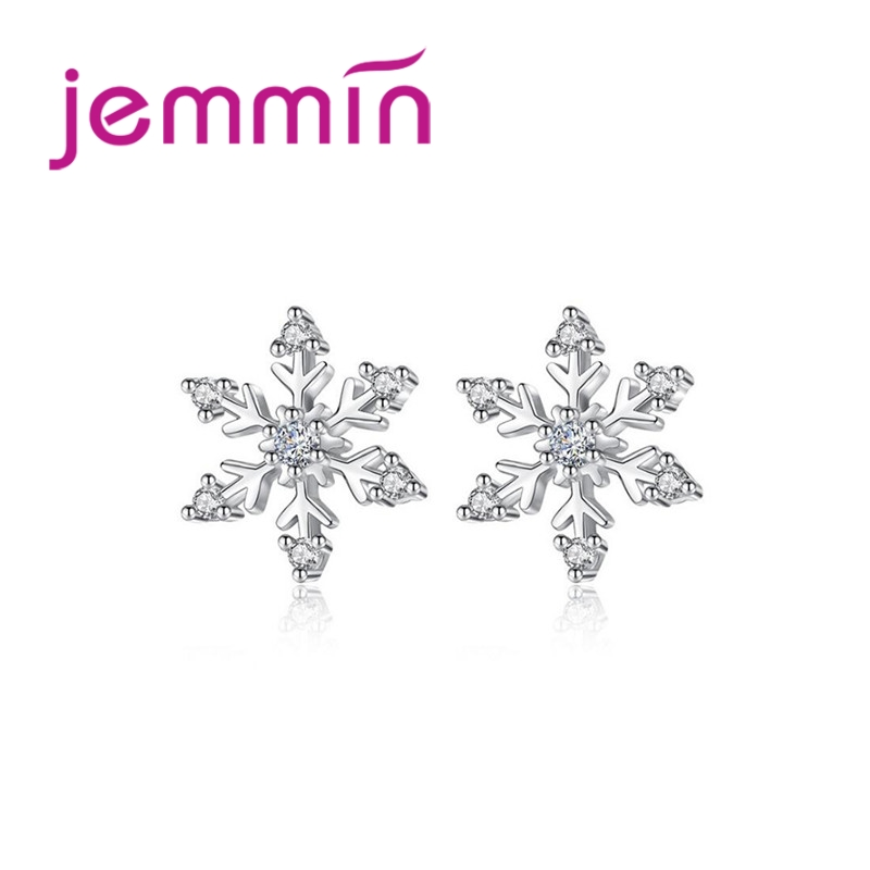 JEMMIN Small Cubic Zirconia Authentic 100% 925 Sterling Silver Irregular Generous Snow Flake Shape Female Festival Stud EarringsJEMMIN Small Cubic Zirconia Authentic 100% 925 Sterling Silver Irregular Generous Snow Flake Shape Female Festival Stud Earrings