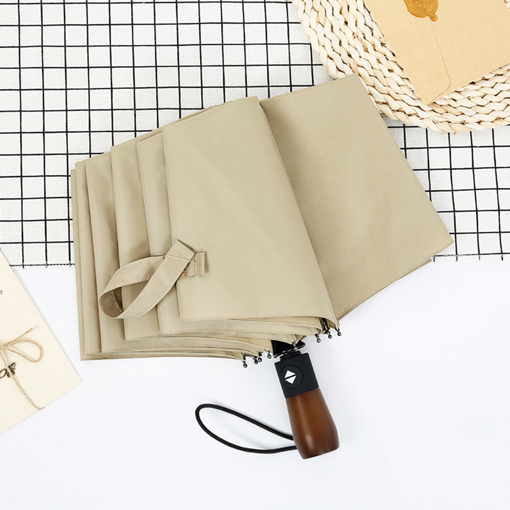 Folding Umbrella Rain Anti-UV Wooden Handle Vintage Portable Windproof Automatic Parasol YS-BUY