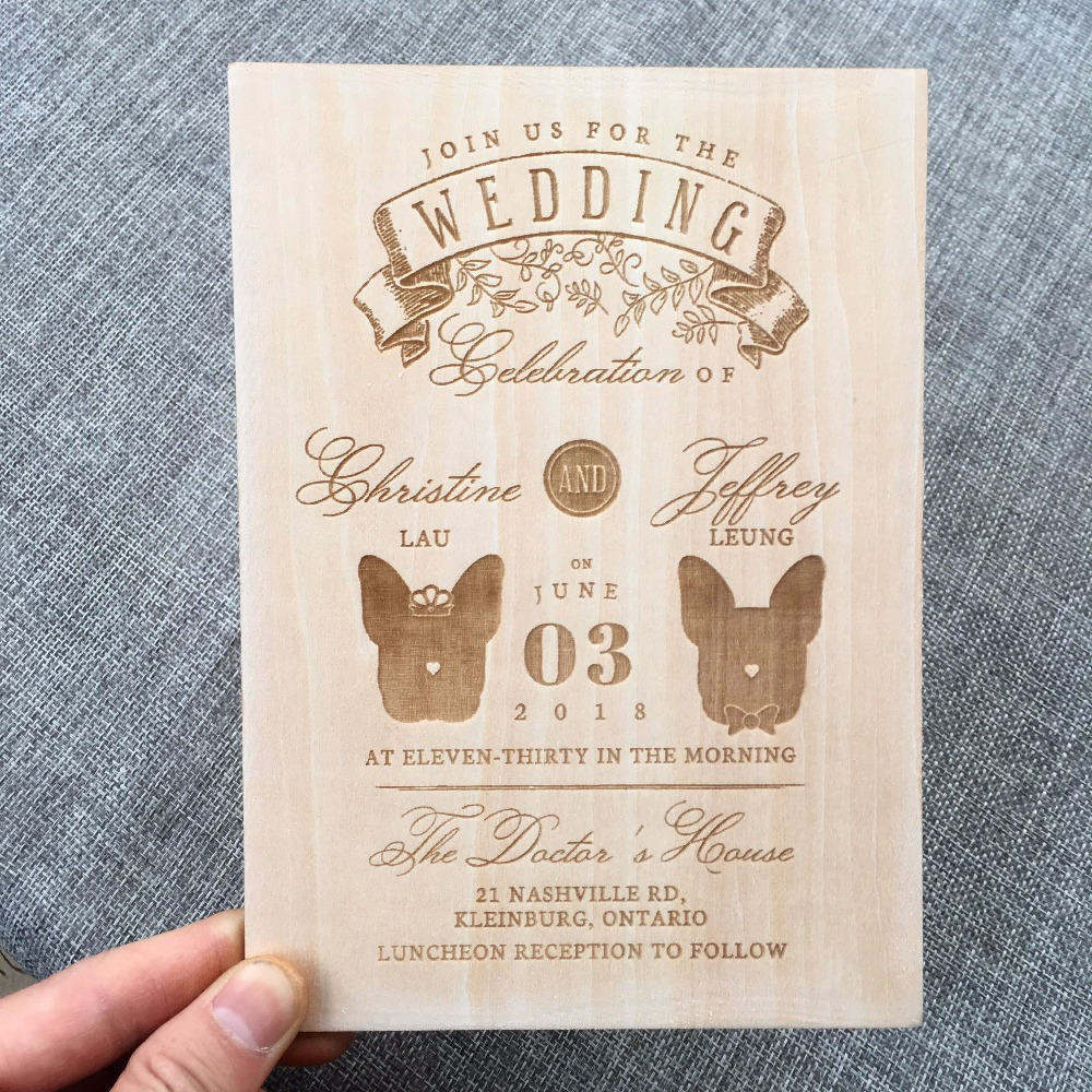Personalized wooden wedding invitation for pet lover ,Wedding ...