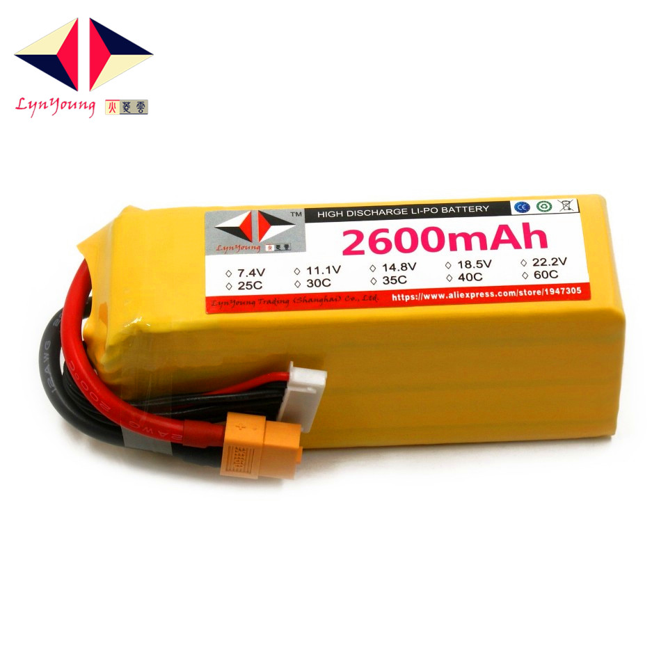 2600mAh 22.2v 40C 6S LYNYOUNG lipo battery  for RC Drone Aircraft Glider Helicopter Car Model plane lipo battery 1s 2s 3s 4s 5s 6s 7s 8s lipo battery balance connector for rc model battery esc
