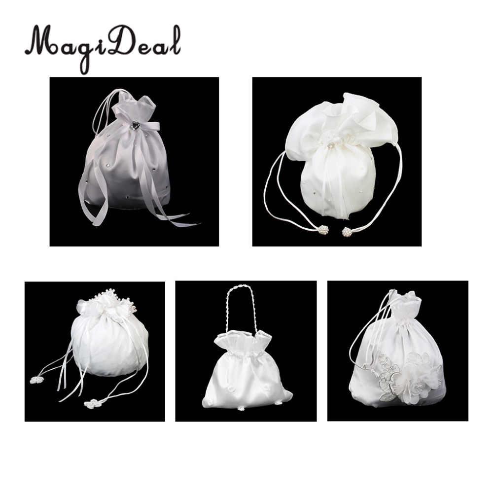 9d4d23c192b8 MagiDeal Satin Pearl Rhinestone Wedding Bridal Flowers Girls Dolly Bag  Handbag Wedding Party Favors Gifts Candy